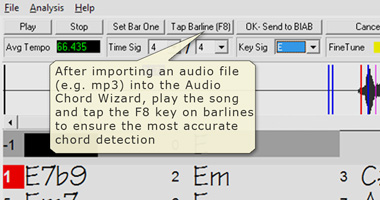 Import audio files into Audio Chord Wizard.