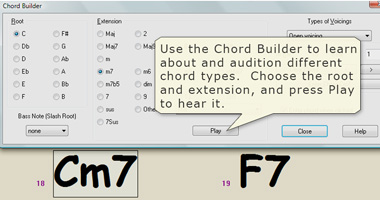 Use the Chord Builder to audition chords.