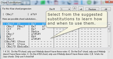 Chord Substitution window