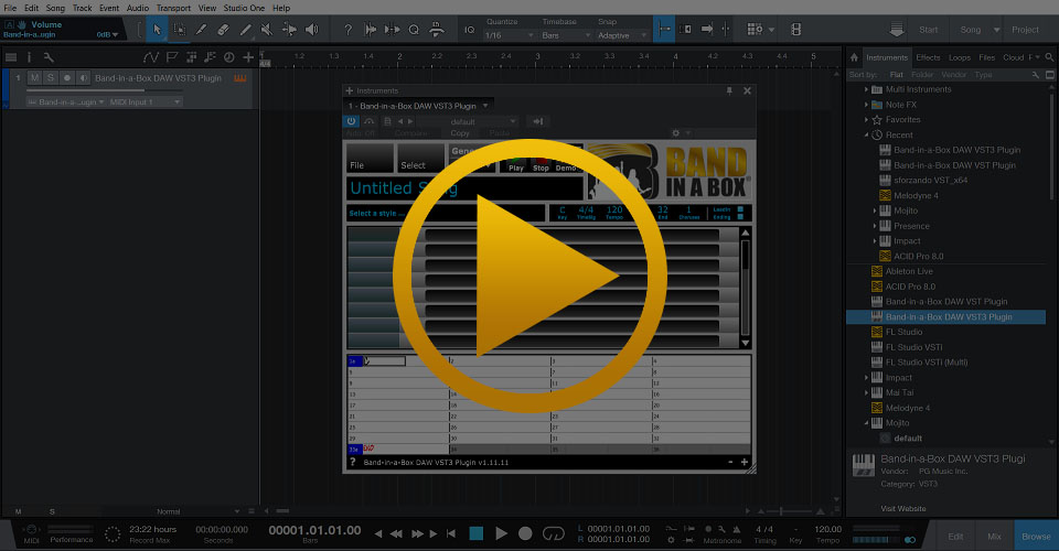 PG Music - Using The Band-in-a-Box® Plugin with Studio One