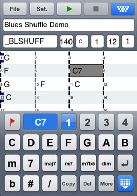 Editing chords in the Blues Shuffle Demo