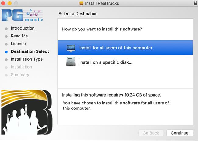 RealTracks install - destination select