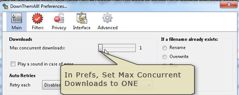Set Preferences to one concurrent download