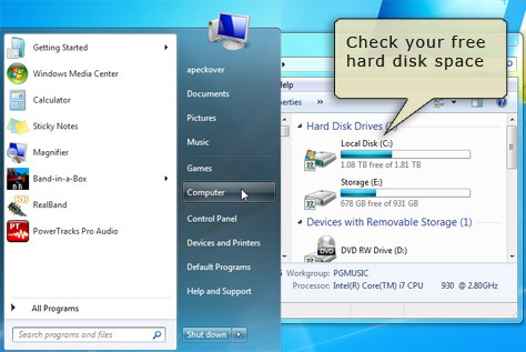 Check your hard disk space