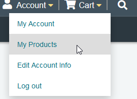Account drop-down menu