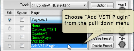 Select 'Add VSTi plugin' from the pull-down menu