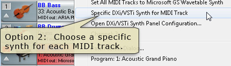 Tracks Window - Specific DXi/VSTi synth for MIDI track