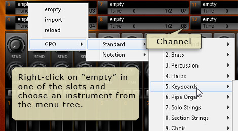 Aria Player - right-click on a slot and select instruments